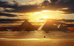 amazing pyramids at sunset