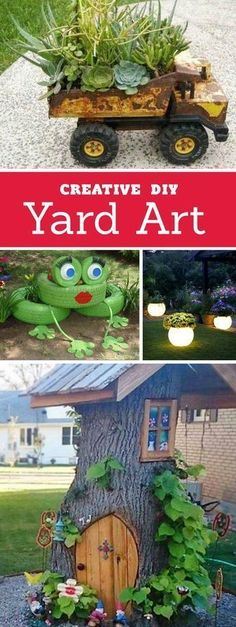 Creative ways to add color and joy to a garden, porch, or yard with DIY Yard Art and Garden Ideas! Repurposed ideas for the backyard. Fun ideas for flower gardens made from logs, bikes, toys, tires and other old junk. ~ LivingLocurto.com #gardenyardartrepurposed