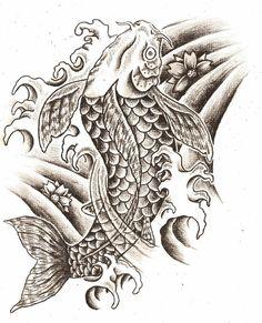tattoo designs | Black and white Koi Fish tattoo design