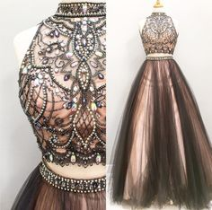 Two pieces prom dresses, A line Beaded prom dress, 2017 Tulle prom dress, Long prom dress Black Evening Dresses, Black Prom Dresses, Pretty Dresses, Evening Gowns, Beautiful Dresses, Formal Dresses, Long Dresses, Dress Black, Dresses Dresses