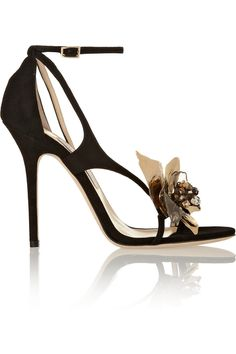 Jimmy Choo | Mantle embellished suede sandals | NET-A-PORTER.COM