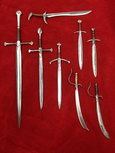 Doll-sized swords for BJDs! Some of these swords are LOTR inspired, the rest Mason Leggee (Ravenrook Forge) just made up as he went. And yes, they all started as nails! All they need are some little warriors....