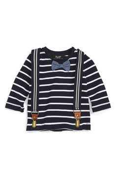 Bardot Junior Bardot Junior Stripe T-Shirt & Suspenders Set (Baby Boys) available at #Nordstrom