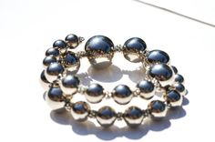 Big middle little Antique silver balls in by OneOfMineBeadDee, $16.00