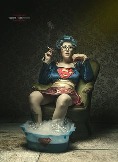 """Ordinary Life"", Superwoman in Retirement, by Christian Melfa. Haha, Photographie Portrait Inspiration, Ordinary Lives, Humor Grafico, Birthday Wishes, Happy Birthday Meme, Make Me Smile, I Laughed, Laughter"