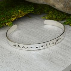 With Brave Wings She Flies Cuff Bracelet
