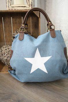 ITAL*VERA Pelle*Canvas*Tasche*Handtasche groß*Stern weiß*Henkel*Leder*JEANSBLAU* in Kleidung & Accessoires, Damentaschen   eBay!