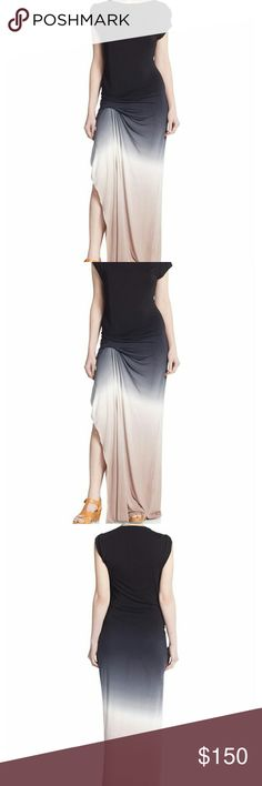 """NWT Young Fabulous & Broke Ombre Maxi Slit Dress Elegant ombre jersey maxi dress with long side slit ruched detail. Asymmetrical hem, boat neck, 67"""" from shoulder to hem. Rayon/spandex blend. Feel free to make an offer! Young Fabulous & Broke Dresses Maxi"""