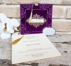 Invitatii nunta Total Happy :: CATALOG SEDEF :: Invitatie nunta cod 3707 din catifea mov- Eventisimo Art, Art Background, Kunst, Performing Arts