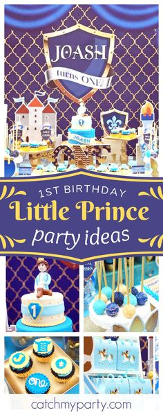 Take a look at this amazing Little Prince 1st birthday party! The dessert table is stunning!! See more party ideas and share yours at CatchMyParty.com #littleprince #1stbirthday