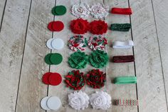 CoutureCraftSupply: Fold Over Elastic | Baby Headbands | Hair Ties - DIY Christmas Shabby Headband Kit
