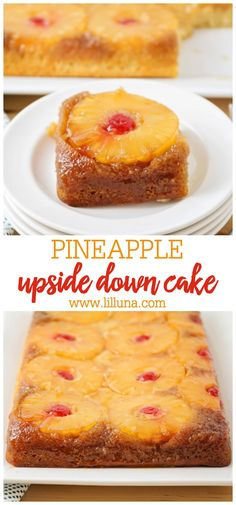 Pineapple Upside-down Cake: A delicious, caramelized, pineapple and cherry topping. This classic dessert is so soft and moist, filled with the perfect amount of pineapple flavor! Pineapple Recipes, Pineapple Cake, Desserts With Pineapple, Pineapple Upsidedown Cake Recipe, Homemade Pineapple Upside Down Cake Recipe, Köstliche Desserts, Delicious Desserts, Cherry Topping, Best Nutrition Food