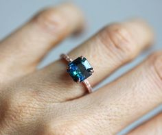 Sapphire Ring, Blue Sapphire Engagement Ring, Green Sapphire, Teal Sap   Capucinne Jewelry