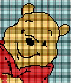 Schema 79 Winnie the pooh Baby Cross Stitch Patterns, Cat Cross Stitches, Cross Stitch Charts, Cross Stitching, Embroidery Stitches, Knitting Charts, Baby Knitting, Pull Bebe, Pixel Pattern