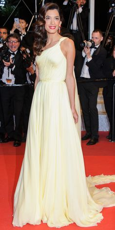 Amal Clooney in an Atelier Versace silk chiffon gown.