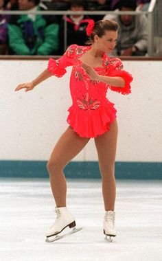 Canada's Josee Chouinard at the 92 Olympics. Even though she always struggled with her nerves and with consistency, she was a charming skater, with a lovely personality. To this day she is still my favorite female skater . Figure Skating Competition Dresses, Figure Skating Costumes, Roller Skating, Ice Skating, 1992 Olympics, Ice Dance, Olympic Sports, Olympic Champion, Sports Figures