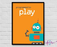 Poster Boys, Poster Poster, Plum Art, Robots For Kids, Thing 1, Kids Decor, Playroom, My Etsy Shop, Wall Art
