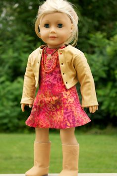American Girl Doll Clothing. 18 Inch Doll Clothing. Batik dress and Leather Jacket ensemble