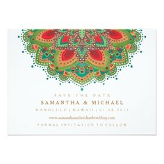 Indian Wedding Invitations The Green Mandala Wedding Save the Date Card