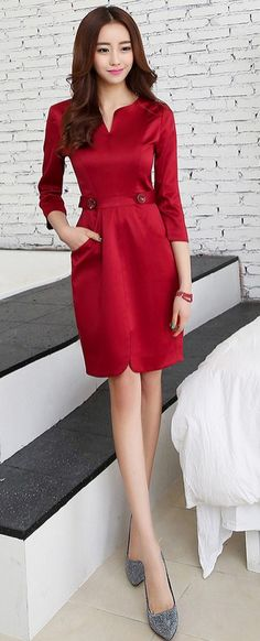 Dark Red Midi Elegant Evening Korean Dress YRB0707