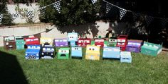 Box Cars. Found this idea in another pin and expanded on it. (Yes, I'm pinning my own blog, but I'm just so dang proud of my cars! They do take a while to make.)
