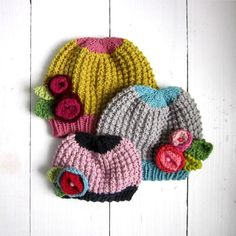 baby hat KNITTING PATTERN , instant digital download pattern, knit baby girls hat with flowers, DIY pattern via Etsy