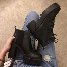 the platform boots featuring round closed-toe with side zipper. Sock Shoes, Cute Shoes, Me Too Shoes, Shoe Boots, Ankle Boots, Shoes Heels, Crazy Shoes, Beautiful Shoes, Shoe Collection