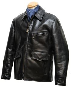 Long Half Belt horsehide leather jacket - Aero Leathers, UK