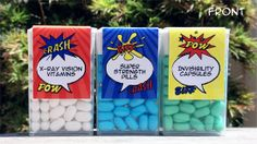 INSTANT DOWNLOAD Superhero Tic Tac Labels Party Favors - PDF file with editable text (you personalize text at home using Adobe Reader)