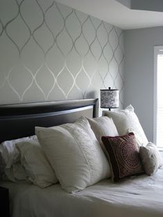 same color high gloss paint stencil over flat paint wall - do this for the VAULTED LIVING ROOM WALL!?