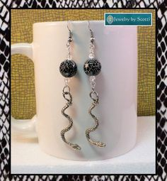 Black and Silver Snake Earrings Black Snakeskin by JewelryByScotti