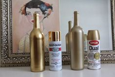 60 New ideas for diy room spray curtain rods Gold Diy, Bottle Centerpieces, Wedding Centerpieces, Bottle Painting, Spray Painting, Spray Painted Bottles, Paint Bottles, Gold Bottles, Gold Spray Paint