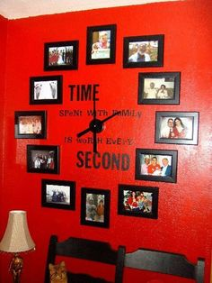 I have countless photos on my living room and dining room walls, but I never thought to do this. Funny thing is they're in this shape but I just stuck smaller frames in between the circle so there wouldn't be a hole in each set of photos. I should try this out, especially considering one of my wall clocks broke yesterday.