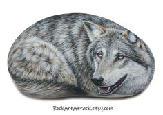 Gray wolf hand painted on flat natural stone! Rock painting animal, original acrylic painting, finished with satin varnish, Canis Lupus 3d Painting, Pebble Painting, Stone Painting, Rock Painting, Hand Painted Rocks, Painted Stones, Rock Decor, Pebble Stone, Gray Wolf