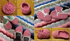 Pantufas muito simples e fáceis de fazer, em Trapilho. Com esquema para dois tamanhos. Artesanato e Reciclagem. Com Passo a Passo em: http://ideias-recicladas-e-nao-so.blogspot.pt/2014/03/pantufas-em-trapilho-i.html