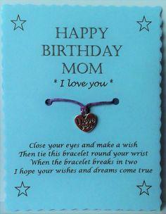 Wish Bracelet Mom Birthday Card Charm bracelet by GemsNJewells                                                                                                                                                                                 More