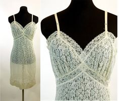 1950s slip lace slip with side zipper nylon slip by vintagerunway,