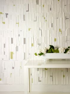 In the White Room with Colour, Hand made wallpaper, Tracy Kendall