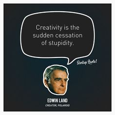 Creativity is the sudden cessation of stupidity. - Startup Quote by Edwin Land, creator of Polaroid