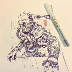 Diesel punk meets body horror. #drawing #handdrawn #sketch #sketches #dailyart #illustration #sketching #art #creative #inspiration…