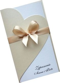 Zaproszenia ślubne na ślub  perłowe sztywne serca!