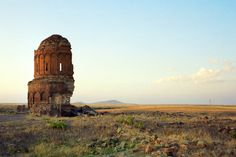 Armenian Church of Surb Prkitch (Holy Savior) of the Pahlavuni family, in the medieval Armenian city of Ani, looking north, at sunset (11th Century)