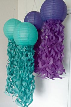 Hey, I found this really awesome Etsy listing at https://www.etsy.com/listing/232786518/purple-and-teal-jellyfish-paper-lanterns