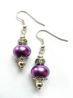 Purple Bead and Silver Plated Bead Cap Drop Earrings