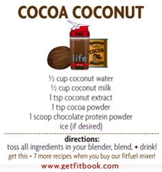 try our #chocolate coconutty yummy shake #postworkout! get our #livelifefit shaker + 8 recipes on our website www.getfitbook.com. #chocolatelovers you might wanna try this #recipe! ❤️