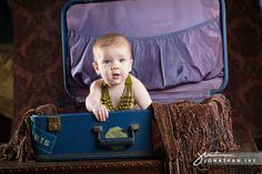 Baby Photos in a Vintage Suitcase #baby