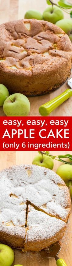 Meet your new favorite apple cake! This country apple cake (a. Sharlotka) is soft, moist and so easy with just 6 ingredients - perfect for last minute company! This European apple cake is lightly sweet and is sure to please. Apple Recipes, Sweet Recipes, Baking Recipes, Cake Recipes, Dessert Recipes, Just Desserts, Delicious Desserts, Yummy Food, Tasty