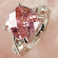 nice Women Pink & White Topaz Gemstone Fashion Jewelry Silver Ring Size 6 7 8 9 10 11 - For Sale View more at http://shipperscentral.com/wp/product/women-pink-white-topaz-gemstone-fashion-jewelry-silver-ring-size-6-7-8-9-10-11-for-sale/