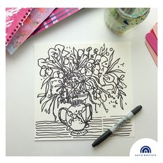 Line drawing. The blooms needed more space. More info on my IG profile @katiebaptistedesign 100th Day, Line Drawing, Bloom, Profile, Space, Drawings, Creative, Projects, Cards