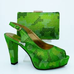 61.50$  Buy now - http://alic4l.worldwells.pw/go.php?t=32748563343 - African shoe and bag set for party Italian shoe with matching bag new design ladies matching shoe and bag CP63007 Green color